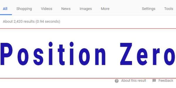 what position zero looks like at top of SERPs