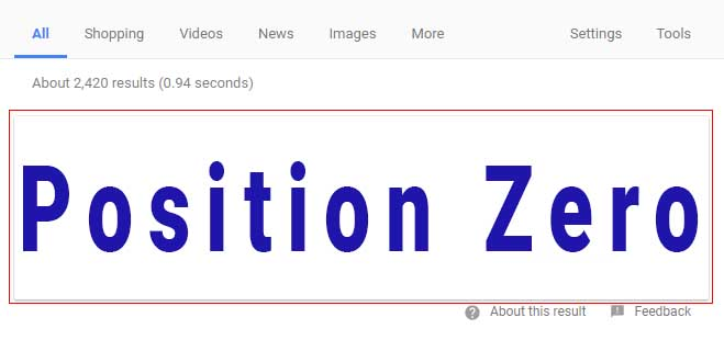 What is a Position Zero Search Result (SERP) ?